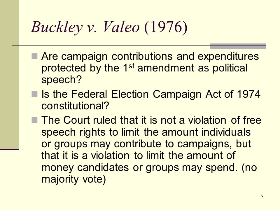 Buckley v. Valeo (1976) Are campaign contributions and expenditures protected by the 1st amendment as political speech