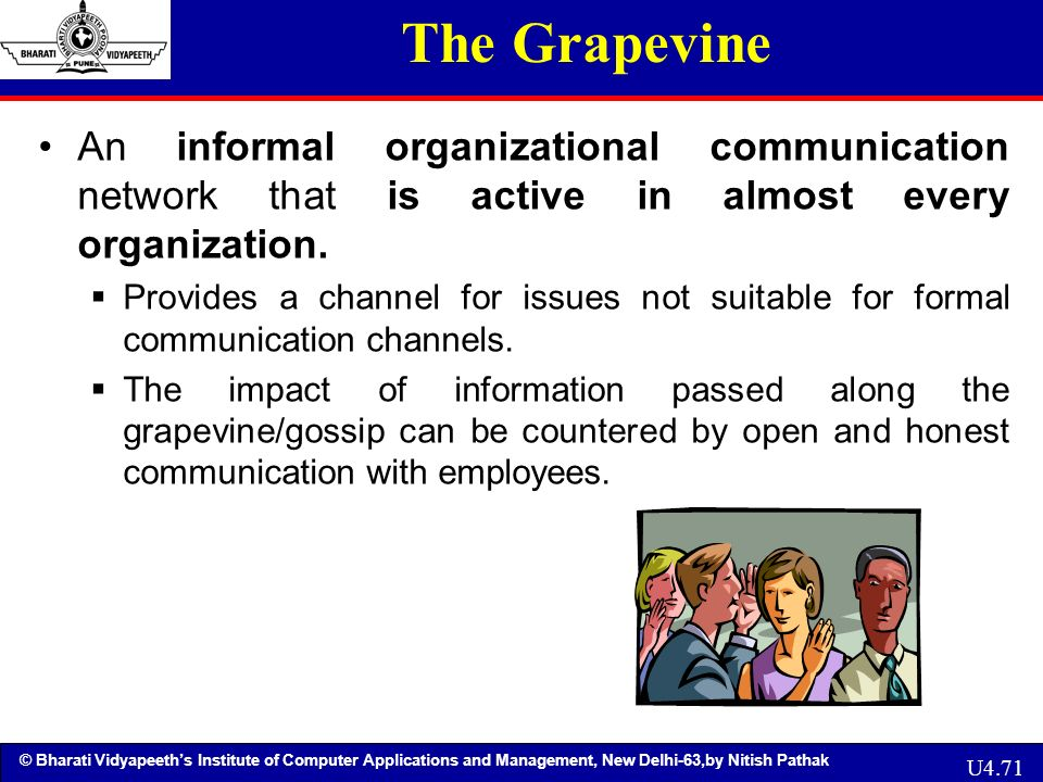 an informal communication channel rumor mill Review of the grapevine communication how does grapevine communication spread rumors very truly an exploration of how informal communications channels can be.