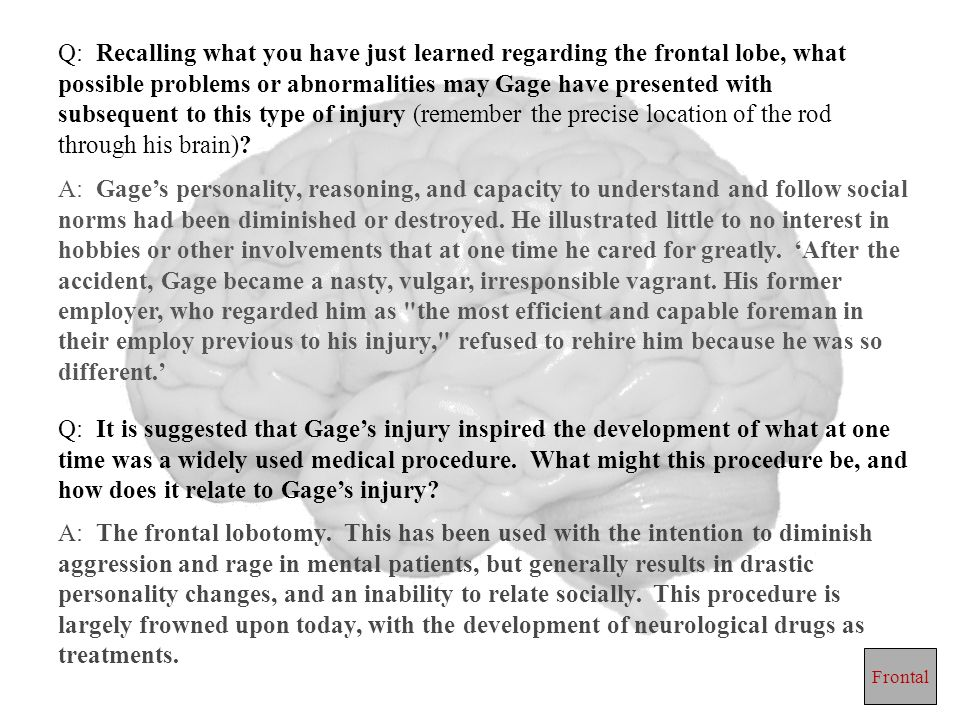 Q: Recalling what you have just learned regarding the frontal lobe, what possible problems or abnormalities may Gage have presented with subsequent to this type of injury (remember the precise location of the rod through his brain)
