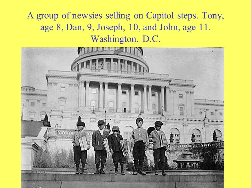 A group of newsies selling on Capitol steps