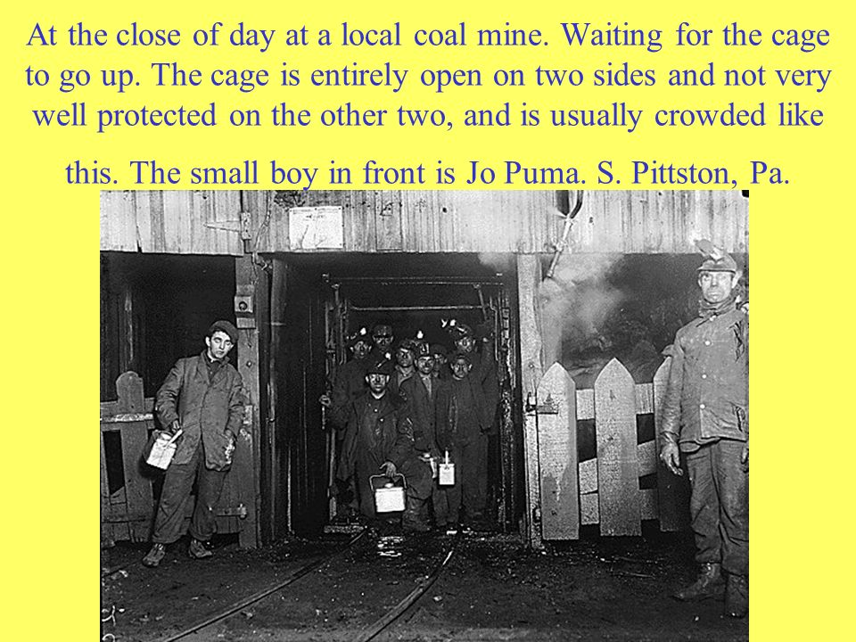 At the close of day at a local coal mine. Waiting for the cage to go up.