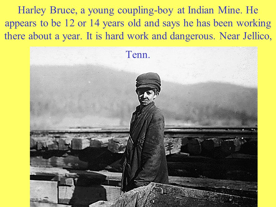 Harley Bruce, a young coupling-boy at Indian Mine