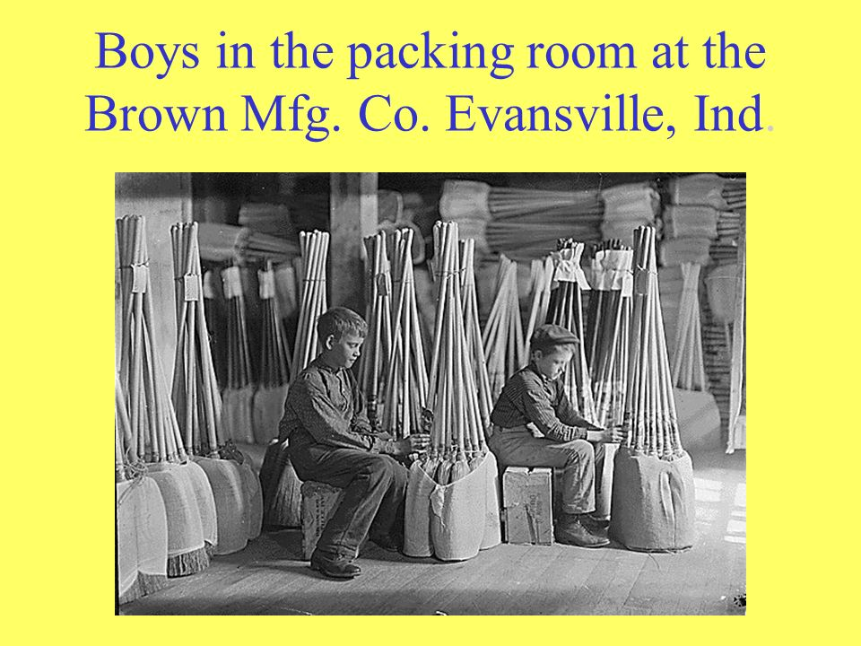 Boys in the packing room at the Brown Mfg. Co. Evansville, Ind.