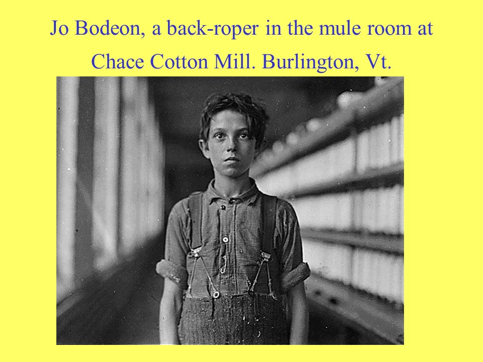 Jo Bodeon, a back-roper in the mule room at Chace Cotton Mill
