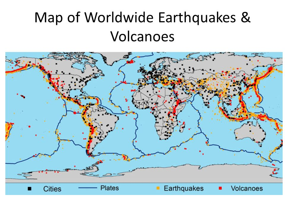 Map of Worldwide Earthquakes & Volcanoes