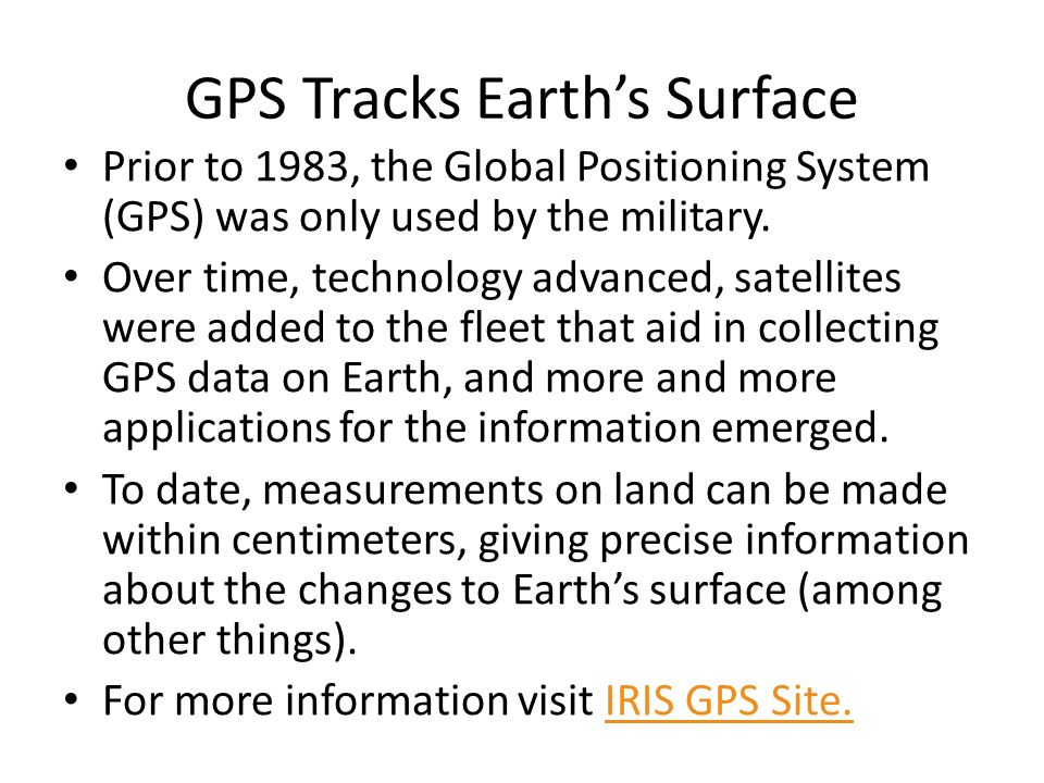 GPS Tracks Earth's Surface