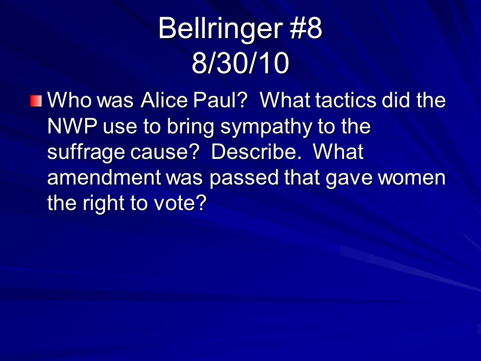 Bellringer #8 8/30/10