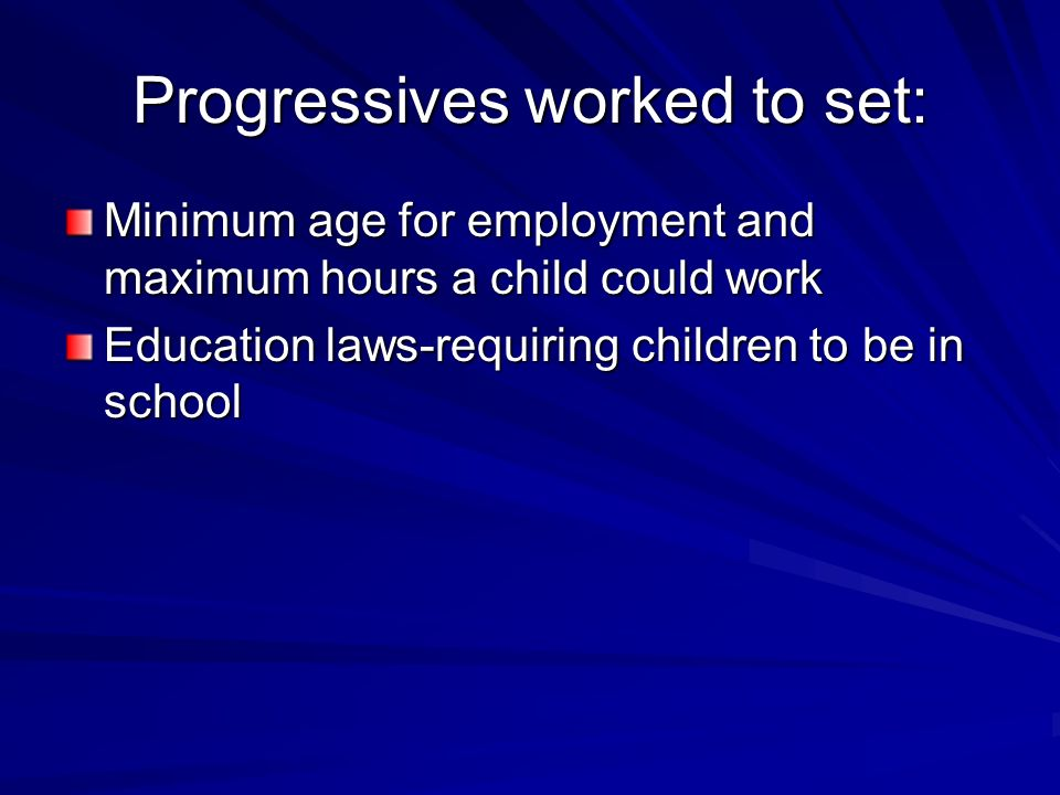 Progressives worked to set:
