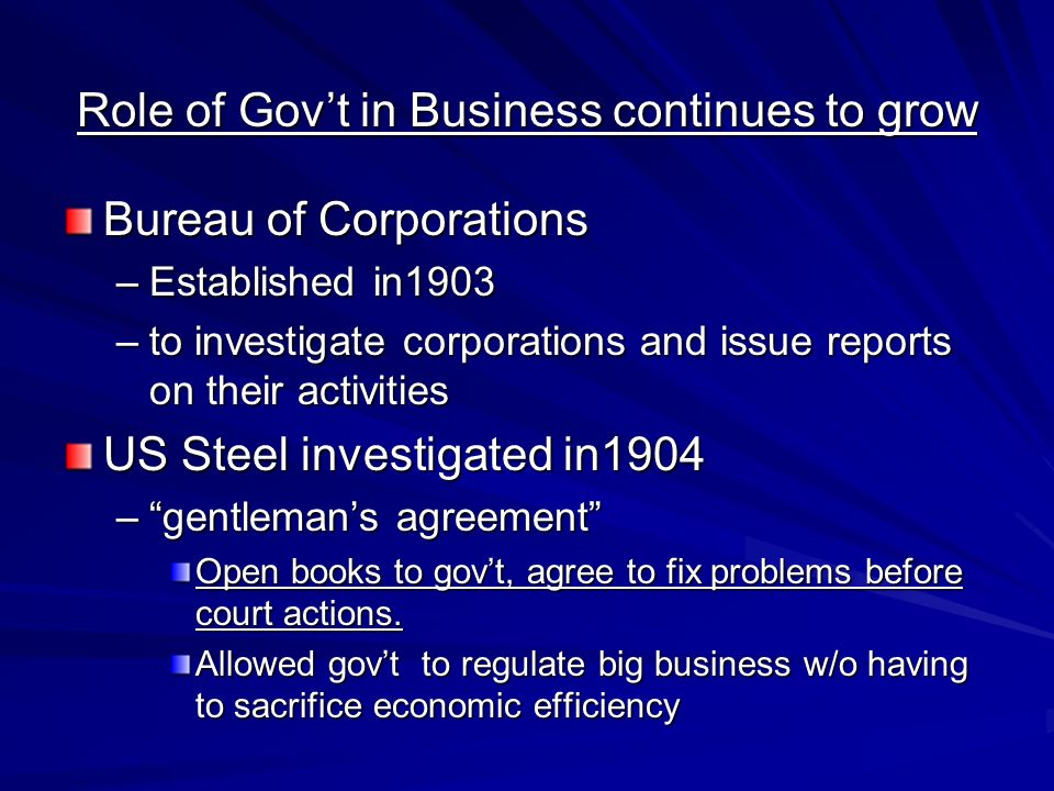 Role of Gov't in Business continues to grow