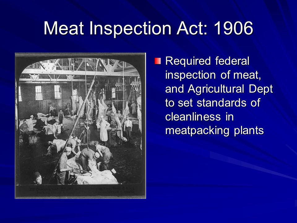 Meat Inspection Act: 1906 Required federal inspection of meat, and Agricultural Dept to set standards of cleanliness in meatpacking plants.