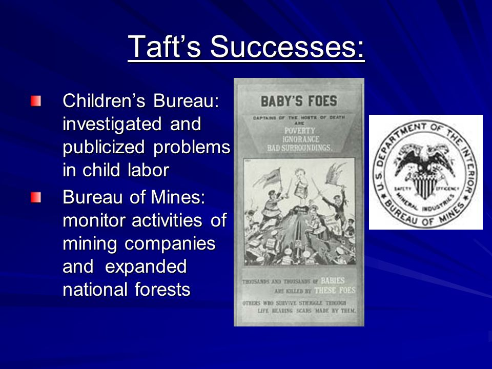 Taft's Successes: Children's Bureau: investigated and publicized problems in child labor.