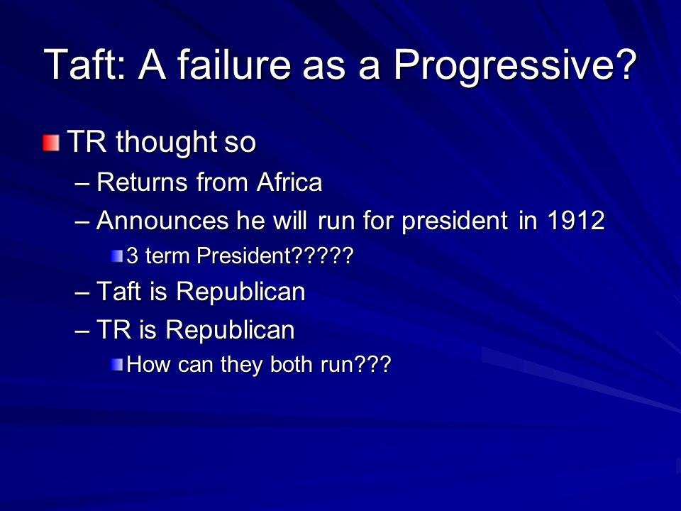 Taft: A failure as a Progressive