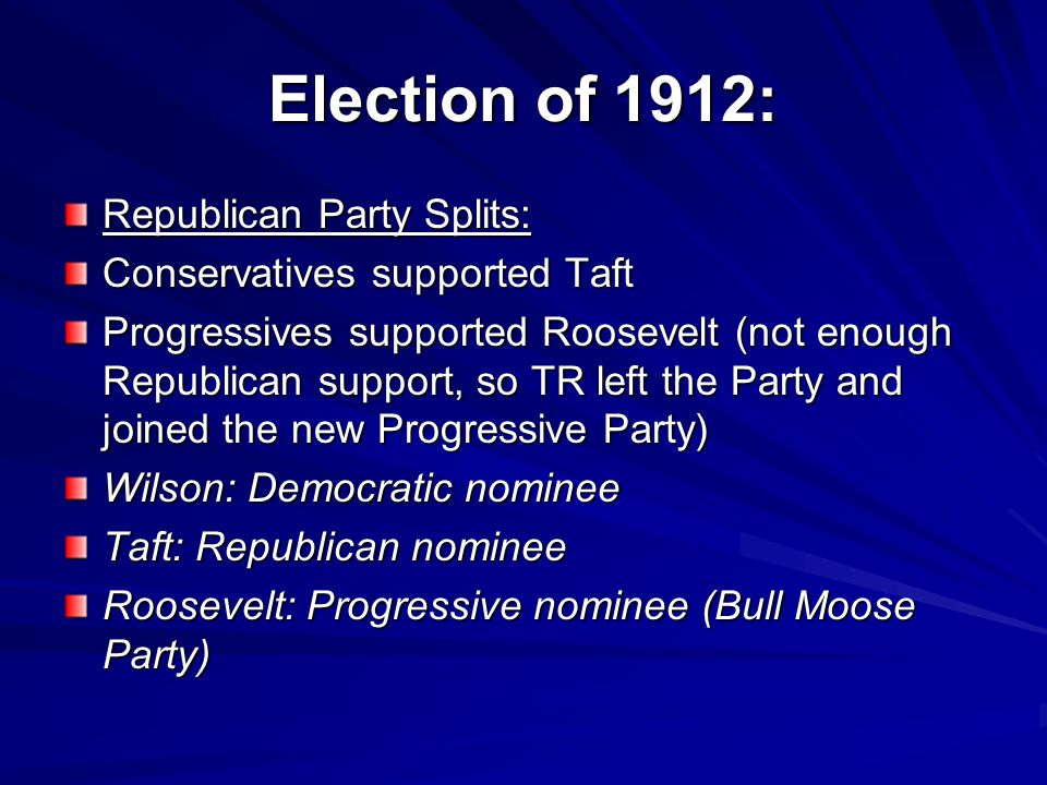 Election of 1912: Republican Party Splits: