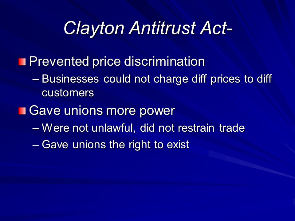 Clayton Antitrust Act-