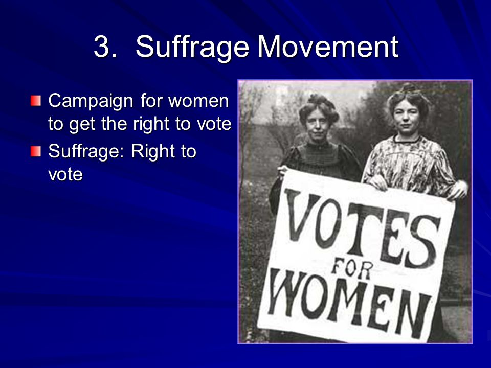 3. Suffrage Movement Campaign for women to get the right to vote