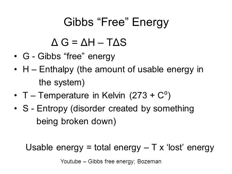 Gibbs Free Energy Δ G = ΔH – TΔS G - Gibbs free energy