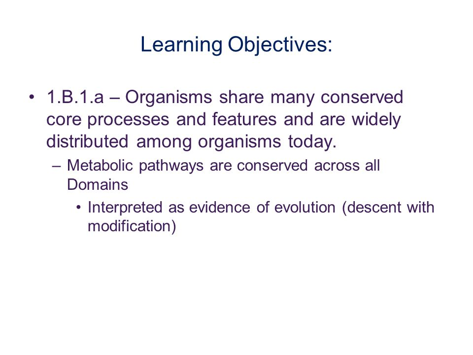 Learning Objectives: 1.B.1.a – Organisms share many conserved core processes and features and are widely distributed among organisms today.