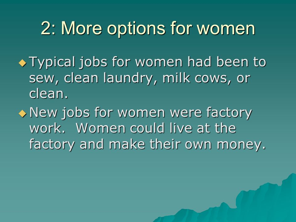 2: More options for women