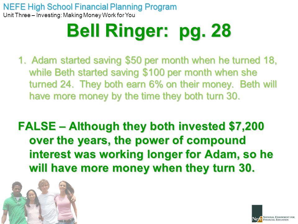 Bell Ringer: pg. 28
