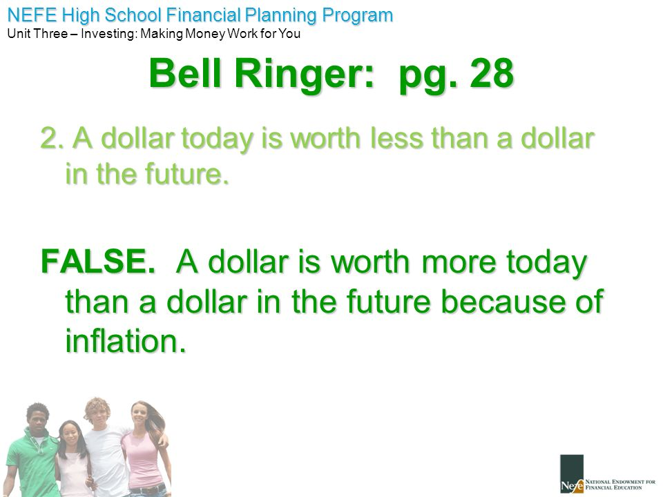 Bell Ringer: pg A dollar today is worth less than a dollar in the future.