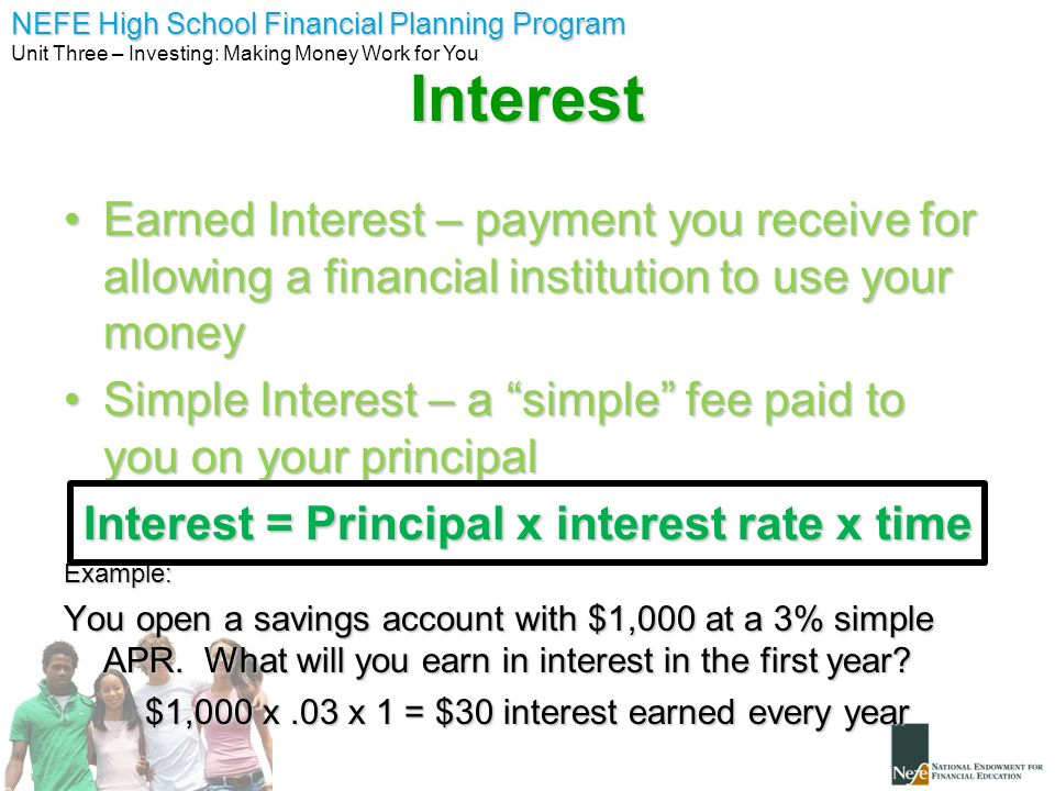 Interest = Principal x interest rate x time