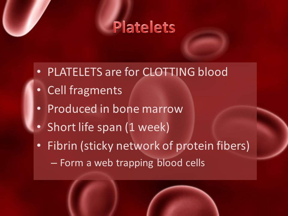Platelets PLATELETS are for CLOTTING blood Cell fragments