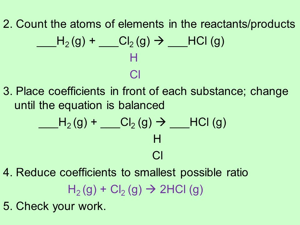 2. Count the atoms of elements in the reactants/products