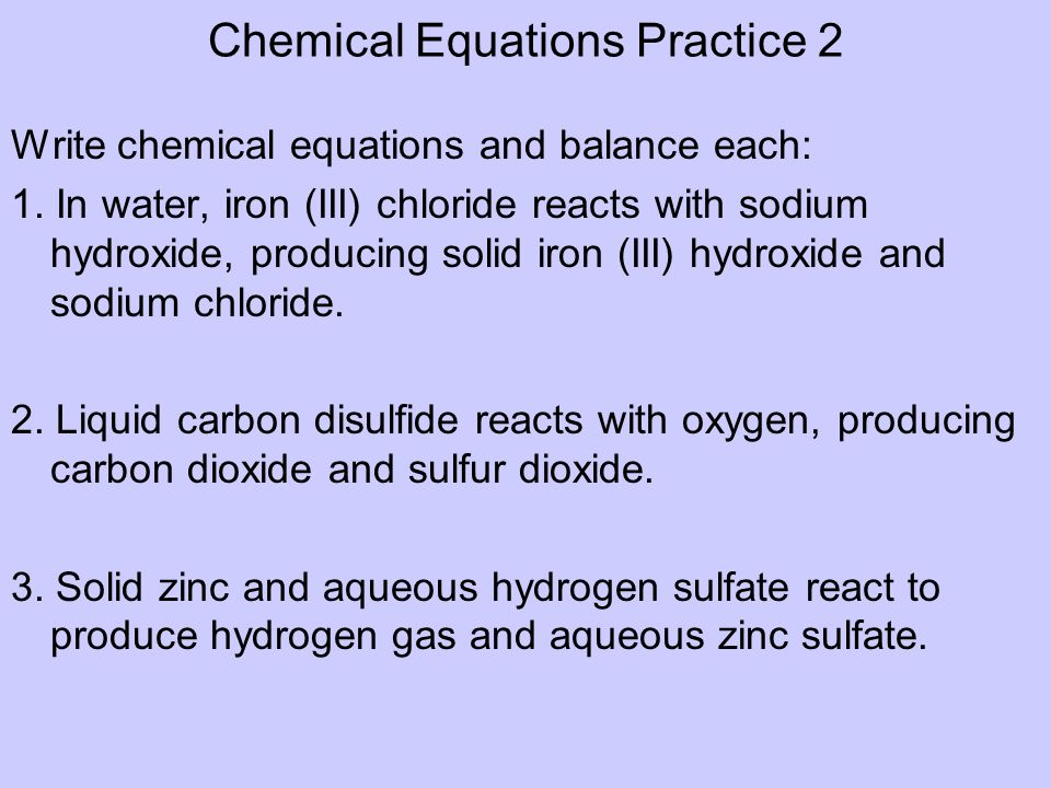 Chemical Equations Practice 2