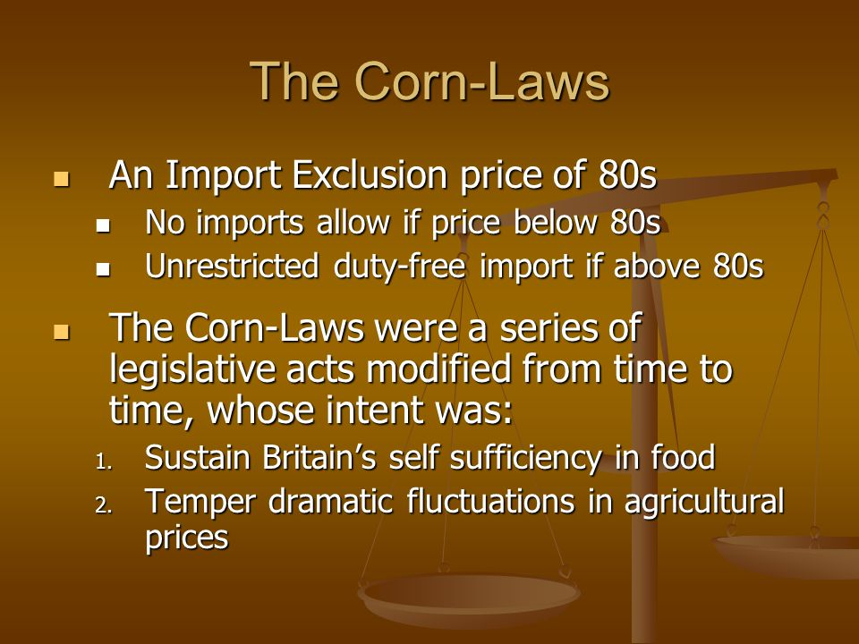 the corn laws debate essay Corn laws, regulations restricting the export and import of grain, particularly in england as early as 1361 export was forbidden in order to keep english grain cheap subsequent.