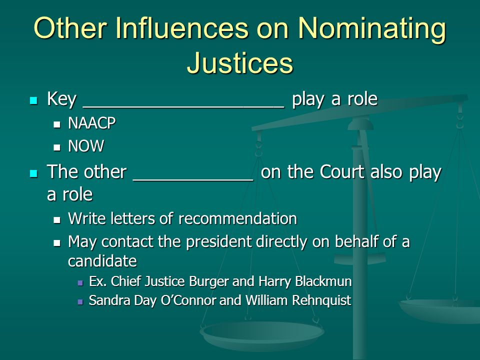 Other Influences on Nominating Justices