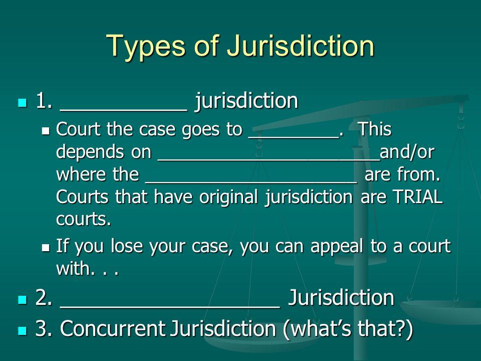 Types of Jurisdiction 1. ___________ jurisdiction