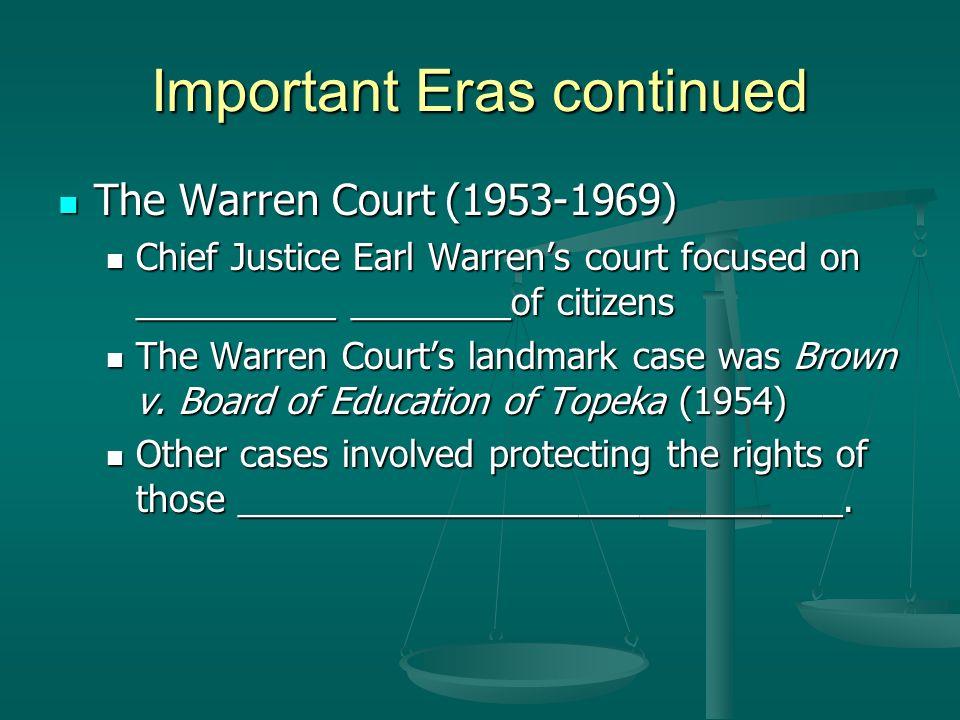 Important Eras continued