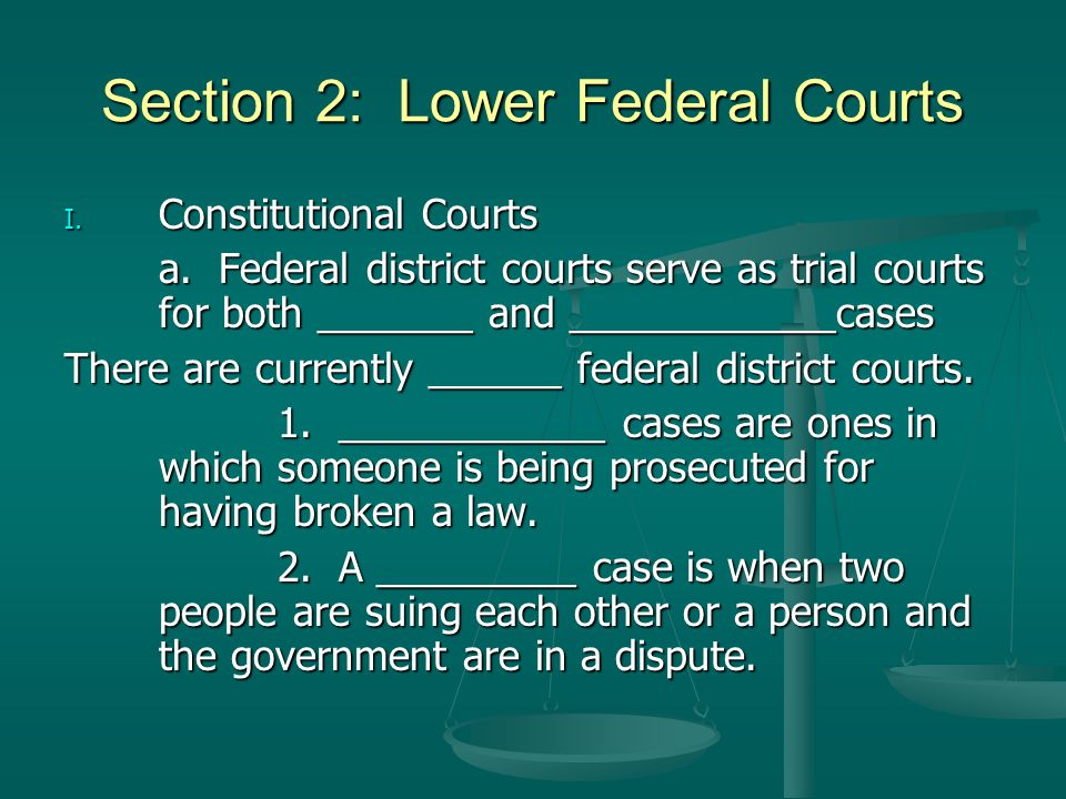 Section 2: Lower Federal Courts
