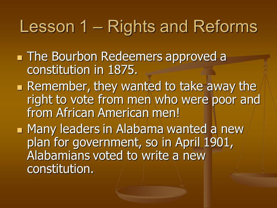 Lesson 1 – Rights and Reforms