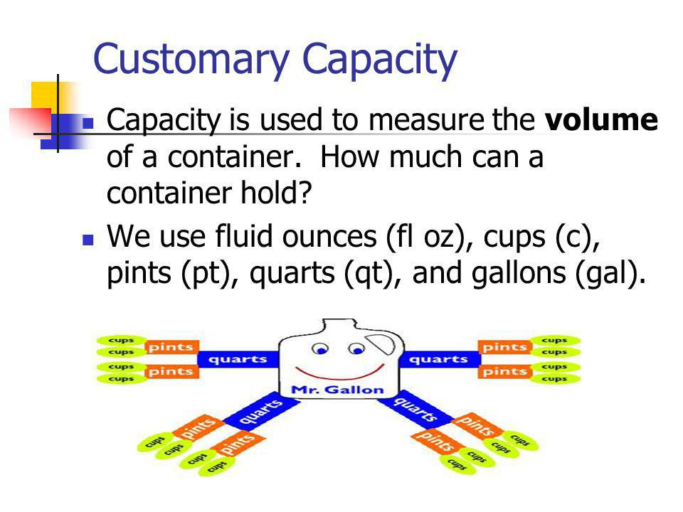 Customary Capacity Capacity is used to measure the volume of a container. How much can a container hold