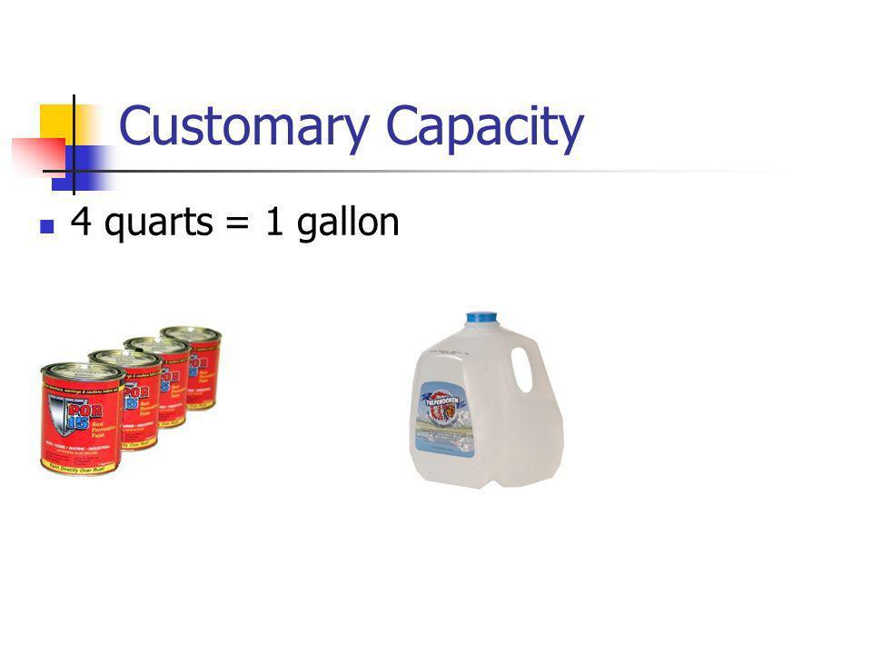 Customary Capacity 4 quarts = 1 gallon