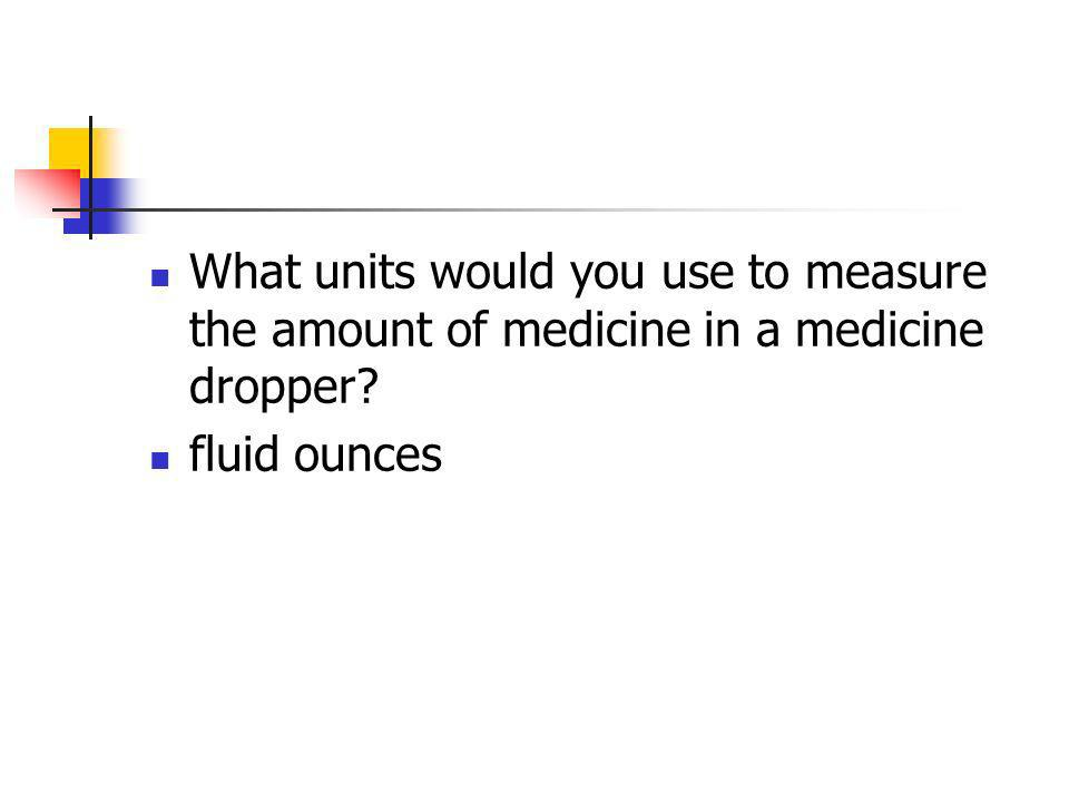 What units would you use to measure the amount of medicine in a medicine dropper