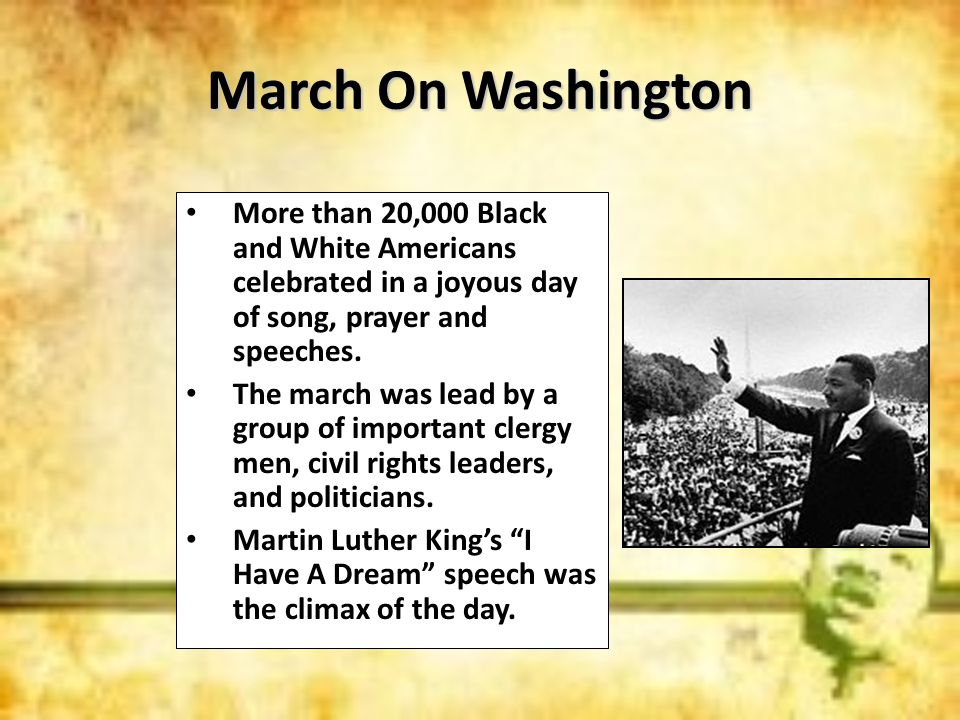 March On WashingtonMore than 20,000 Black and White Americans celebrated in a joyous day of song, prayer and speeches.