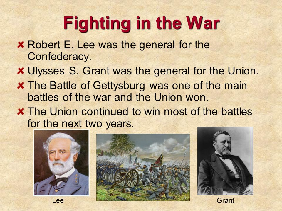 Fighting in the War Robert E. Lee was the general for the Confederacy.