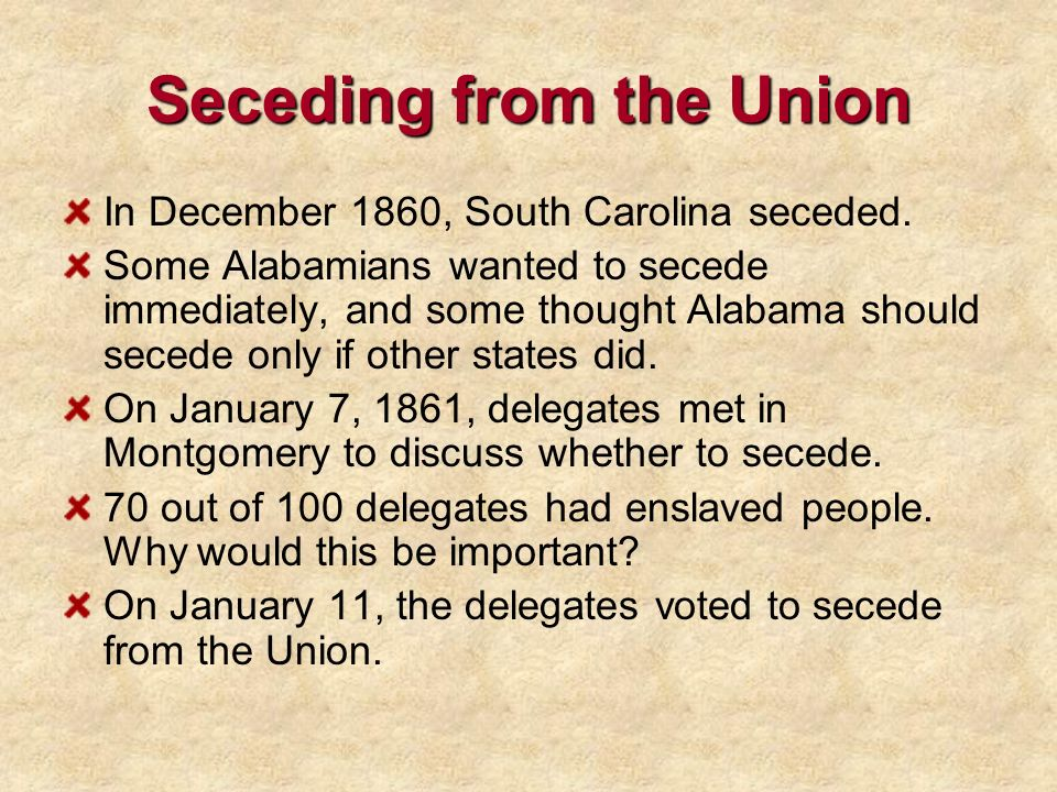 Seceding from the Union