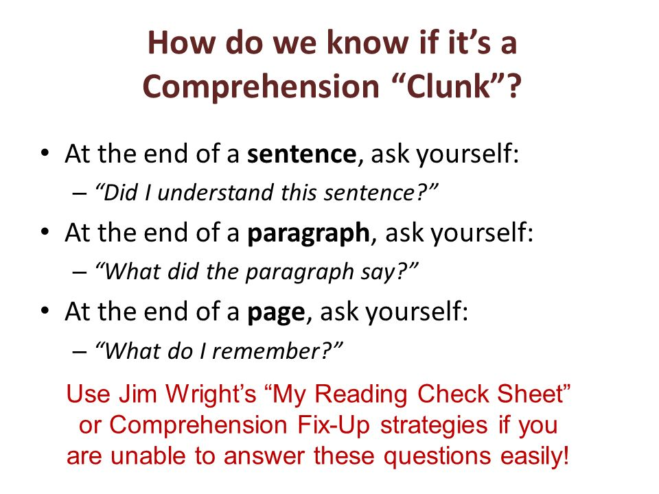How do we know if it's a Comprehension Clunk