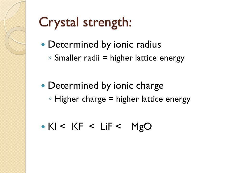 Crystal strength: Determined by ionic radius