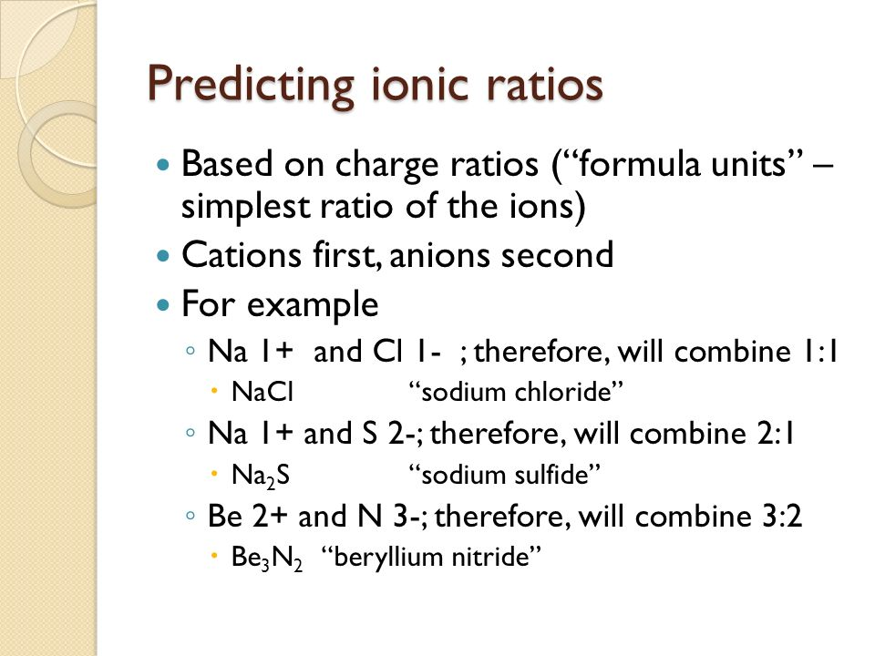 Predicting ionic ratios