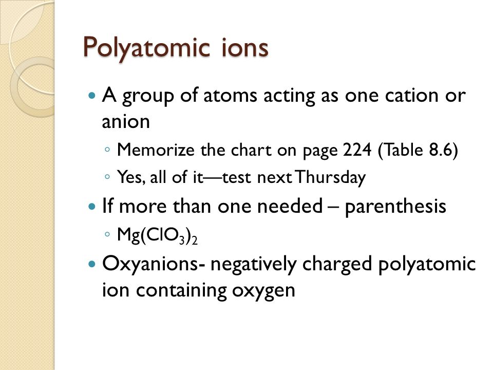Polyatomic ions A group of atoms acting as one cation or anion