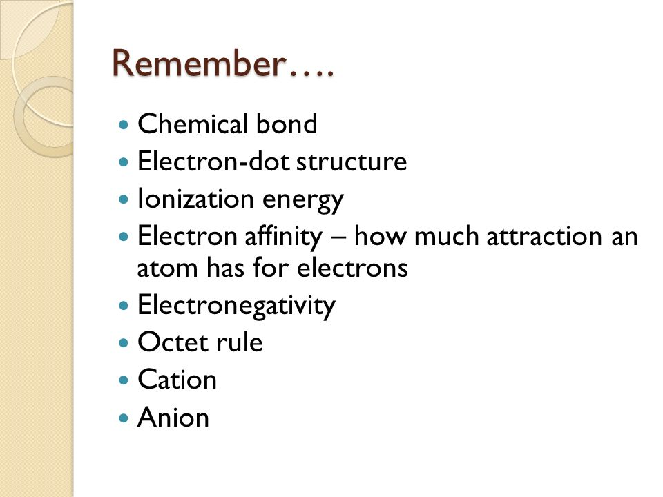 Remember…. Chemical bond Electron-dot structure Ionization energy