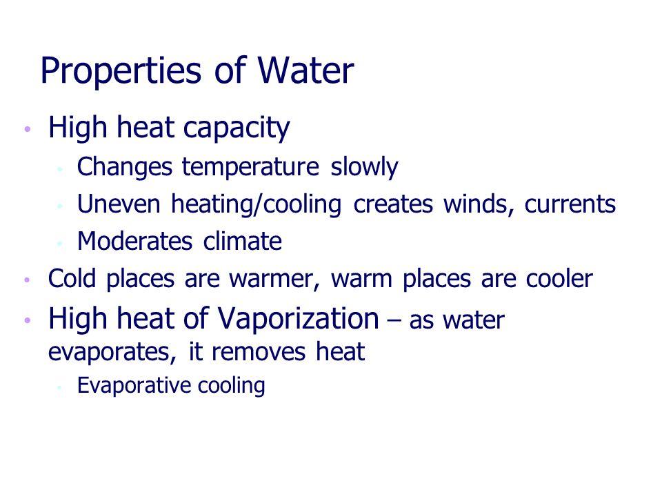 Properties of Water High heat capacity