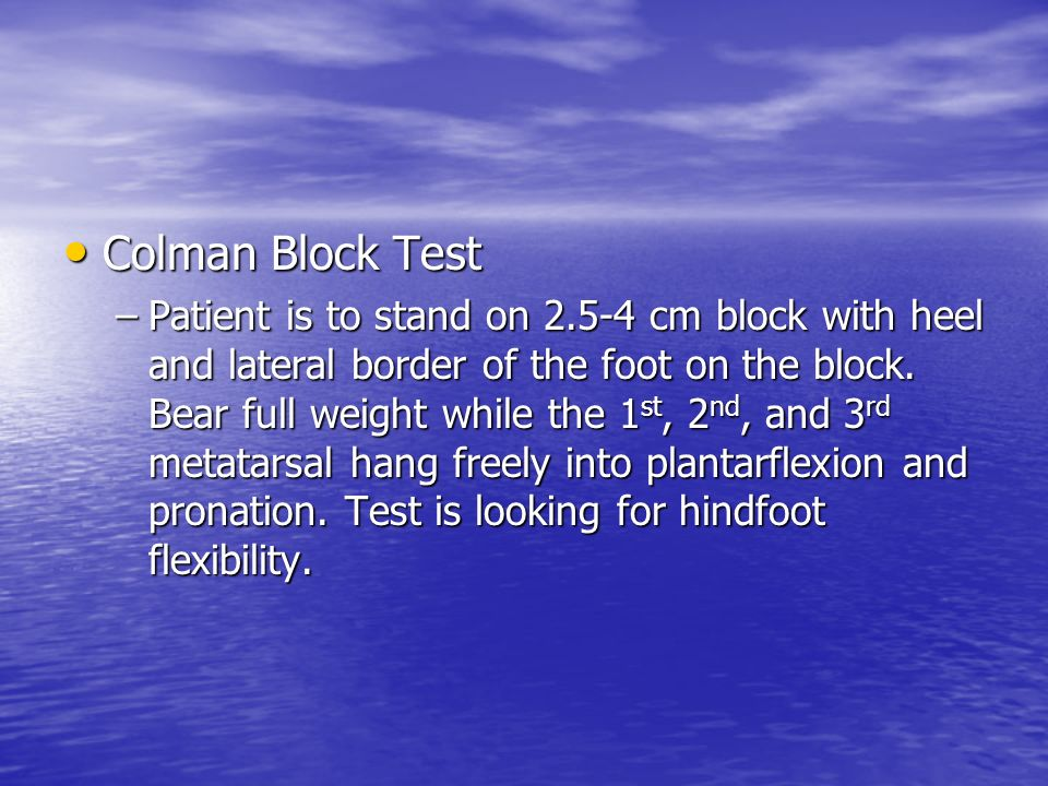 Colman Block Test