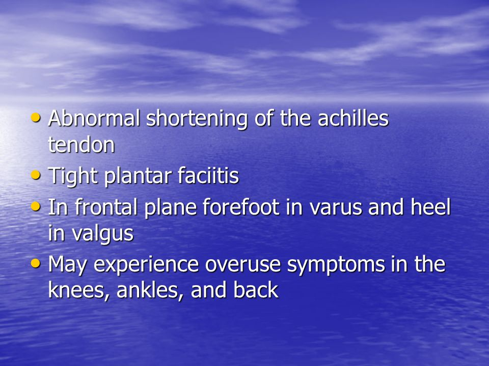 Abnormal shortening of the achilles tendon