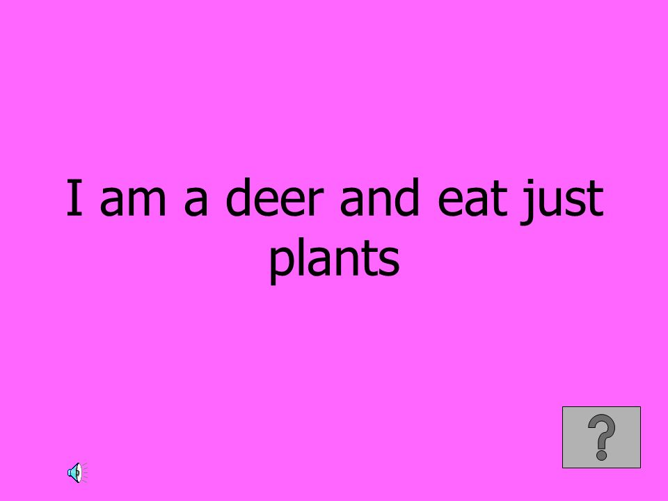 I am a deer and eat just plants