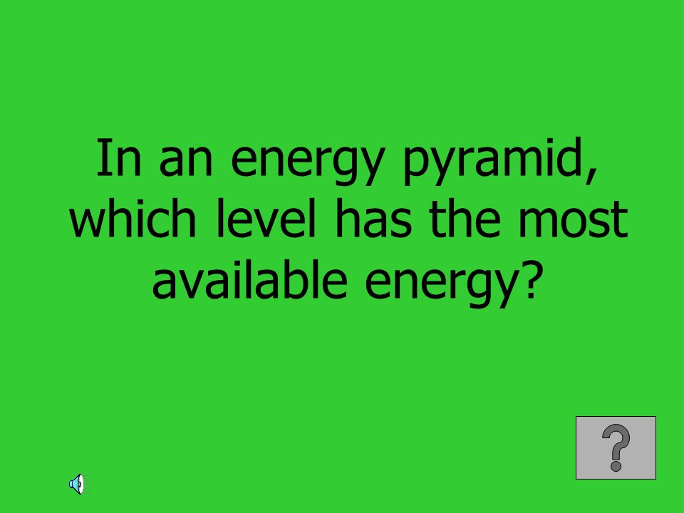 In an energy pyramid, which level has the most available energy